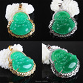 2017 Beautiful Emerald Green Jade Buddha Inlaid Rhinestone Gold Plated Or Silver Plating Pendant 1PCS