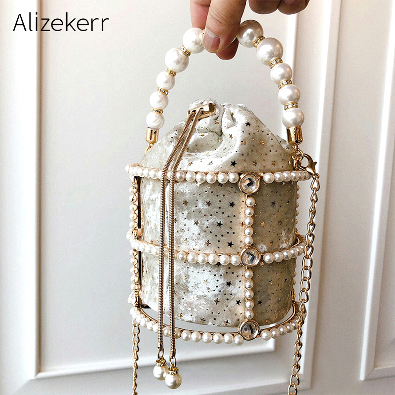 Image 1 - Hollow Out Pearl Bucket Evening Bag Women 2019 Luxury Designer Korean Handmade Alloy Metallic Clutch Bag Ladies Shoulder Bags-in Top-Handle Bags from Luggage & Bags