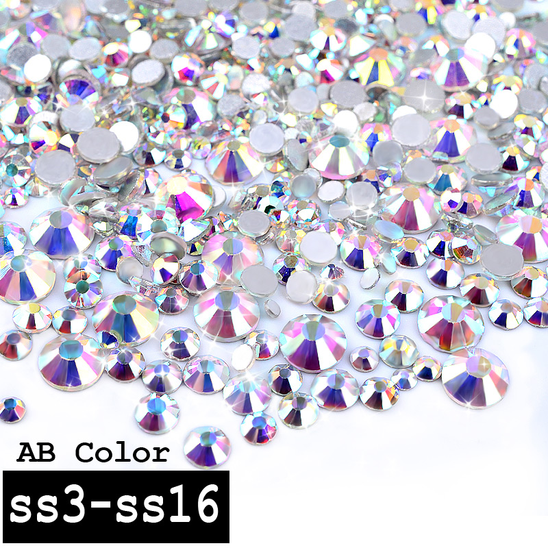 1 Pack Crystal AB Color Mixed (SS3-SS16) Glass Nail Art Rhinestones Gems Non Hotfix Flatback 3d Nail Jewelry Decoration Tools 1000pcs lot ab color marquise nail art rhinestones women decoration diy nail jewelry accessories 3d nail art supply tools wy505