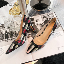 MNIXUAN Novelty Printed lipstick fashion women shoes pumps high heels 2019  new patent leather pointed toe 5ac16b963c76