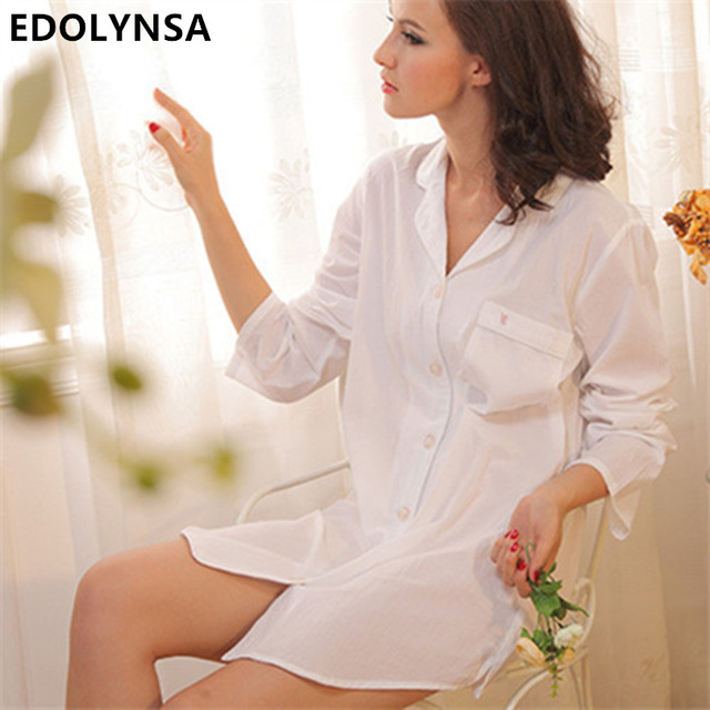 Brand Summer 2017 Sexy Cotton White Long Sleeve Sleepwear Nightgown Sleep Lounge Indoor Clothing Home Dress Nightdress