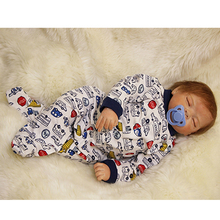 Sleeping Baby Boy Dolls 22 Inch Realistic Alive Babies Silicone Cloth Body Newborn Toy With Clothes Kids Accompany Sleeping Toy