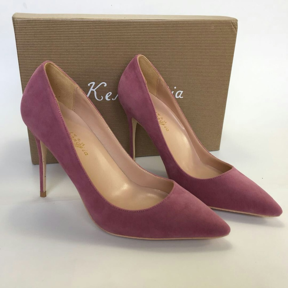 Keshangjia Pointed Toe Women Pumps Elegant Women Pumps High Heels flock Leather Office Lady Shoes Thin