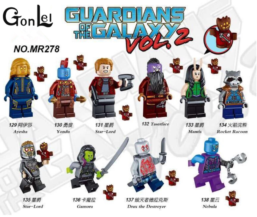 GonLeI 10pcs/lot Guardians of the Galaxy Super Hero Kid Baby Toy Building Blocks Toys Brick Kids toys Christmas gifts