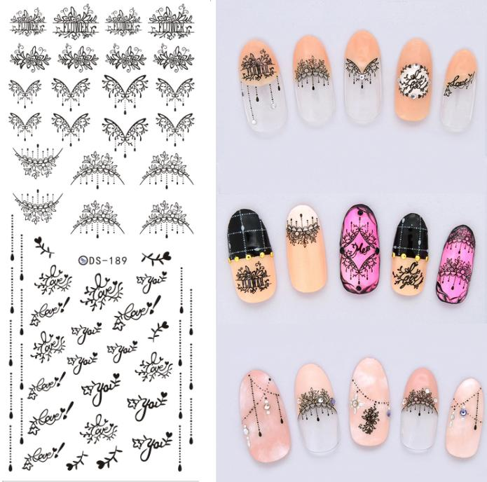 2 sheet Nail Sticker Black Sexy Style Nail Art Water Transfer Wraps Sticker Tips Manicura Fingernails Tattoo Decals ds300 2016 new water transfer stickers for nails beauty harajuku blue totem decoration nail wraps sticker fingernails decals