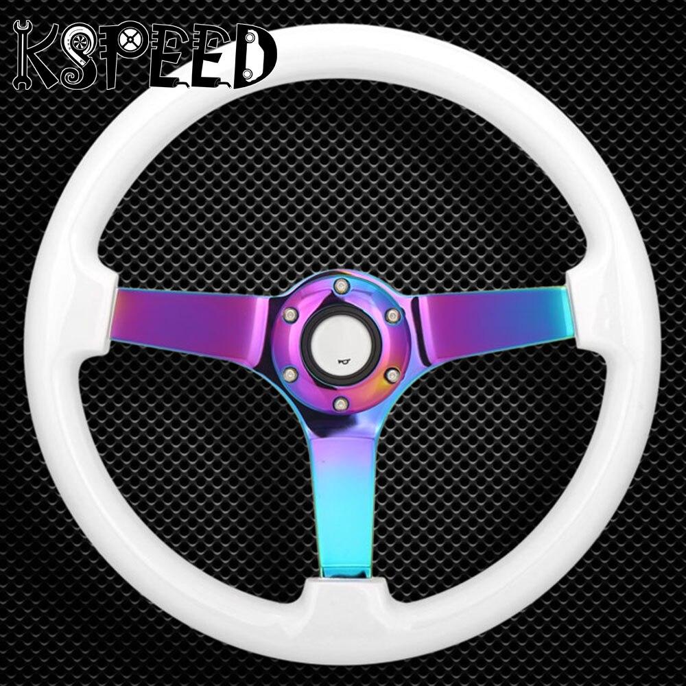 цена на 350mm Wooden Car Steering Wheel Neo Chrome Spoke Deep Corn Steering-Wheel Brown Wood Grain Steering Wheel