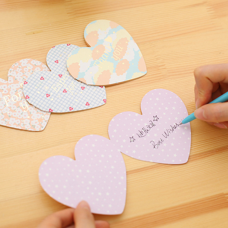 Korean Greeting Romantic Envelope 2pcs/lot Cute Heart-shaped Folded Greeting Card Message Letter Valentine's Day Envelopes Gifts
