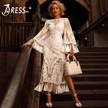INDRESSME Women Lace Flare Long Sleeve 2019 New O Neck Sexy Sequined Mesh Tassel Club Party Mid-Calf Dresses For Lady Fashion(China)