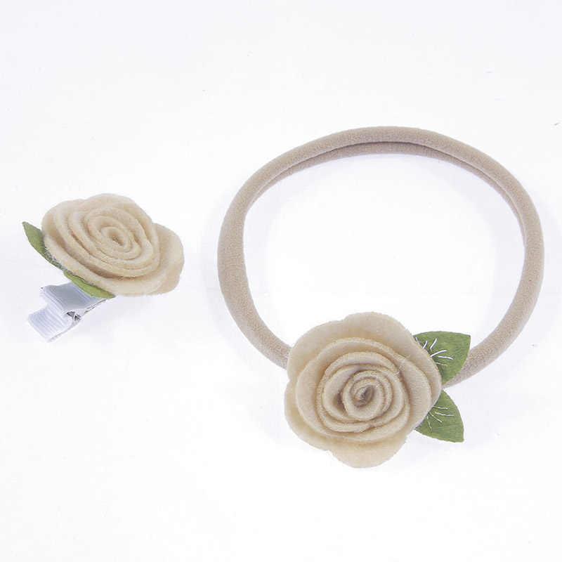 2 unids/set diadema elástica a la moda para Recién Nacido flor rosa no tejida pinza para el pelo de bebés y conjunto de sombreros para mamá