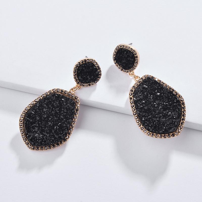 Fashion Jewelry Geometric Irregular Shape Resin Druzy Stone Big Metal Statement Earrings for Women in Drop Earrings from Jewelry Accessories