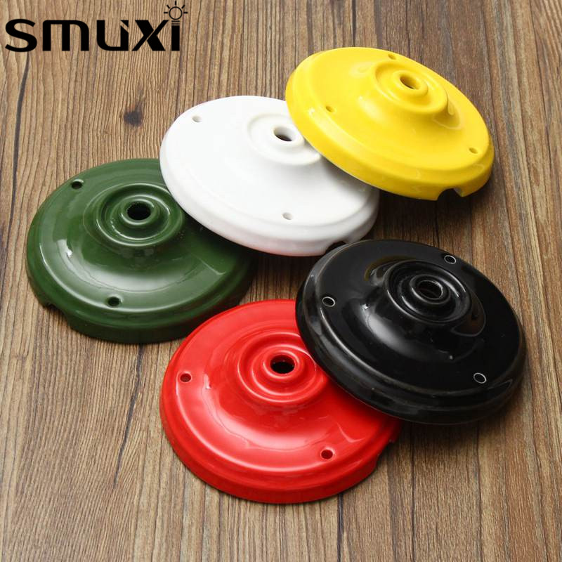 Smuxi Ceramic Black/Red/Yellow/White/Green 105mm Lamp Base Modern Vintage Retro Ceiling Plate Rose Pendant Light Wall Mount white black pink rose red purple wine red modern globe shade feather pendant light lamp indoor deco ceiling fixture lighting
