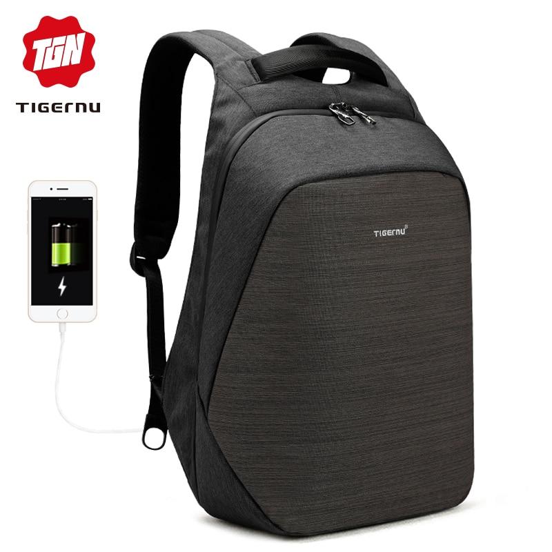 Tigernu anti roubo mochila laptop de carregamento usb 15.6 mochilas homens magro escola mochila saco mochila de viagem das mulheres do sexo masculino à prova d' água