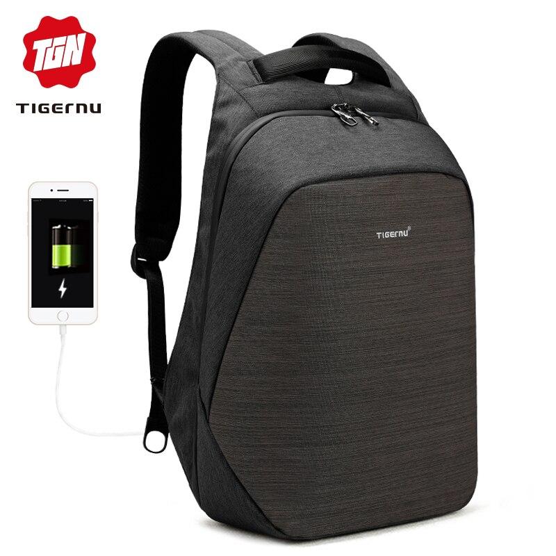 Tigernu anti vol sac à dos pour ordinateur portable usb de charge 15.6 sacs à dos hommes mince sac à dos scolaire imperméable sac femmes mochila mâle voyage