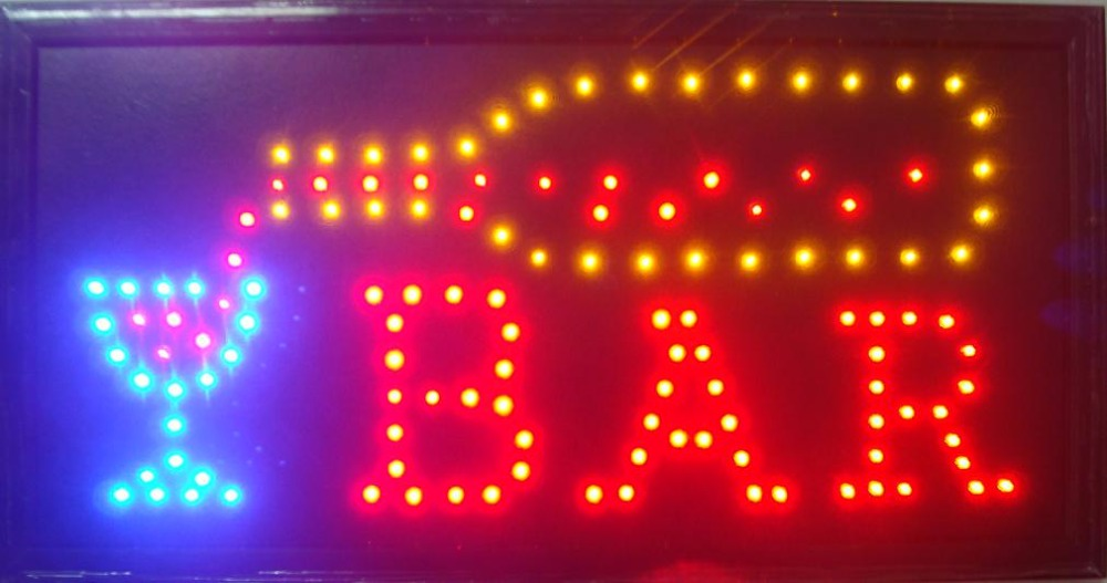 2017 Led bar open shop sign hot sale customed low power 10x19 inch semi-outdoor Ultra Bright running bar shop led electric sign ...