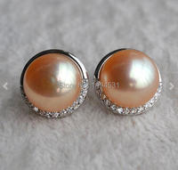 Christmas Gift Jewelry Pearl Jewelry AAA Huge 10 10 5mm Pink Color Natural Freshwater Pearl Earrings
