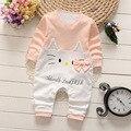 Novo 2017 moda Dos Desenhos Animados do bebê macacão de algodão do bebê meninas meninos roupas de manga longa conjunto de roupas de bebê recém-nascido bebes