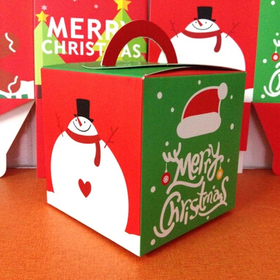 free shipping wholesale lovely carton decoration christmas box hand portable apple packing boxes cookie candy package