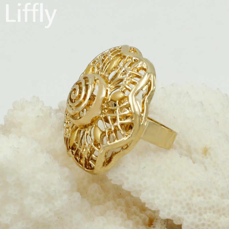 Liffly Fashion Dubai Gold Jewelry Sets for Women African Wedding Big Necklace Flower Bracelet Bridal Jewelry Set