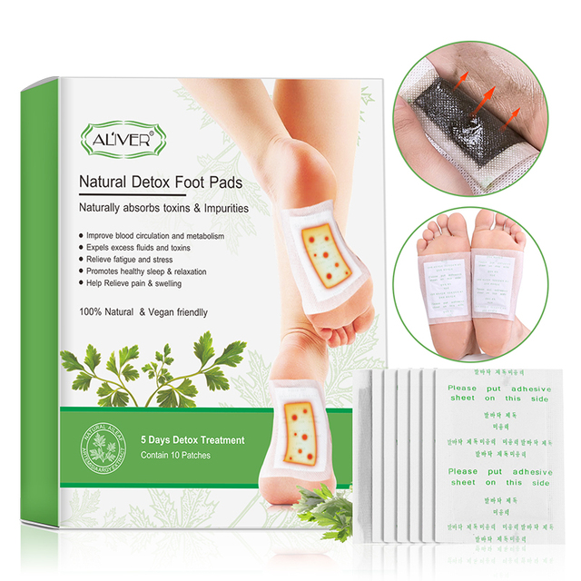 ALIVER 20pcs for 5 Days Detox Foot Patches Pads Body Toxins Feet Slimming Cleansing Herbal Adhesive