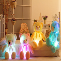 Big Size 50cm Creative Light Up LED Inductive Stuffed Animals Plush Toy Colorful Glowing Teddy Bear