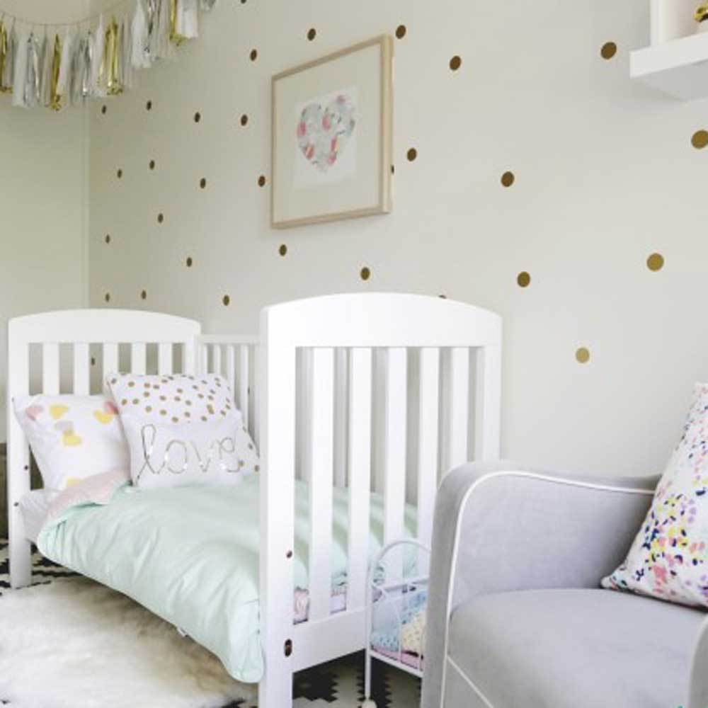 Gold Polka Dots Wall Sticker Baby Nursery Stickers Kids Silver - Gold dot wall decals nursery