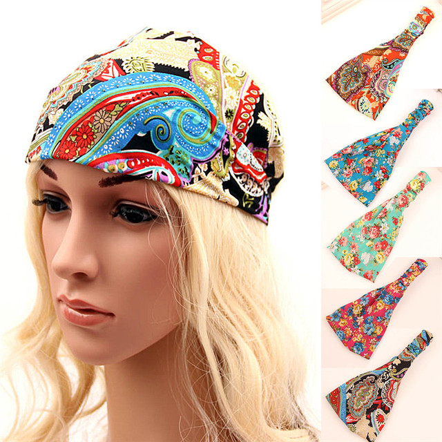 Bohemian Style Elastic Headbands Boho Cross Floral Turban Girls Flower  Hairbands Striped Headwrap Hair Accessories For 1ace4a126f4f