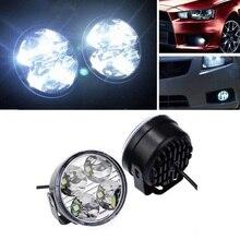2Pcs Hot New 4LED 4W 12V fog parking lamp warning light car stylin Car Auto White Round Off road led DRL Daytime Running Lights