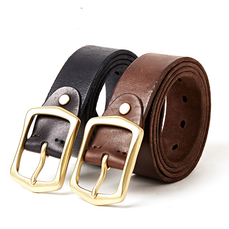 2006 New Fashion Apparel Accessories Male Genuine Leather Belt Top Layer Leather Needle Copper Buckle Ancient Belt