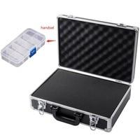 Draagbare aluminium toolbox koffer Bestand instrument box slagvast veiligheid case opbergdoos Met slot Met spons|Gereedschapskisten|Gereedschap -