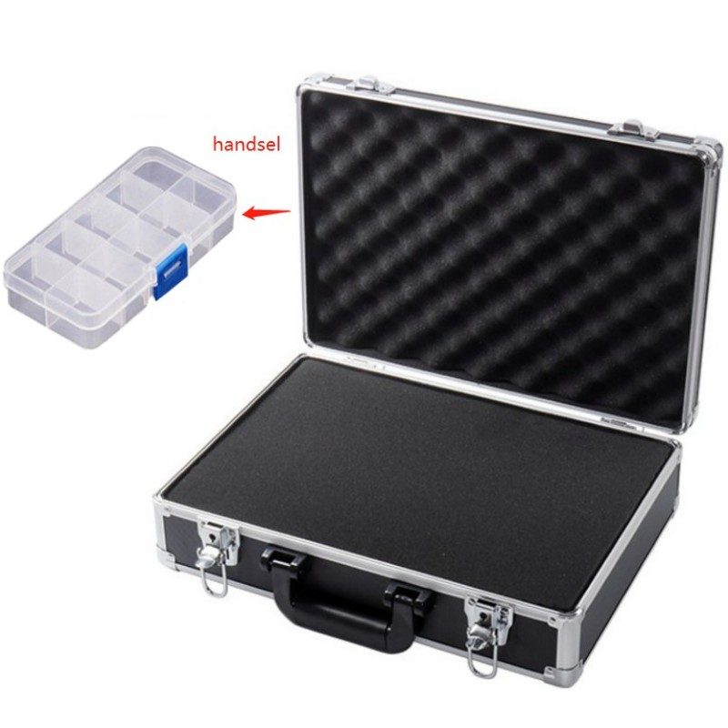 Portable Aluminum Alloy Toolbox Suitcase File Box Instrument Box Impact Resistant Safety Case Storage Box With Lock With Sponge