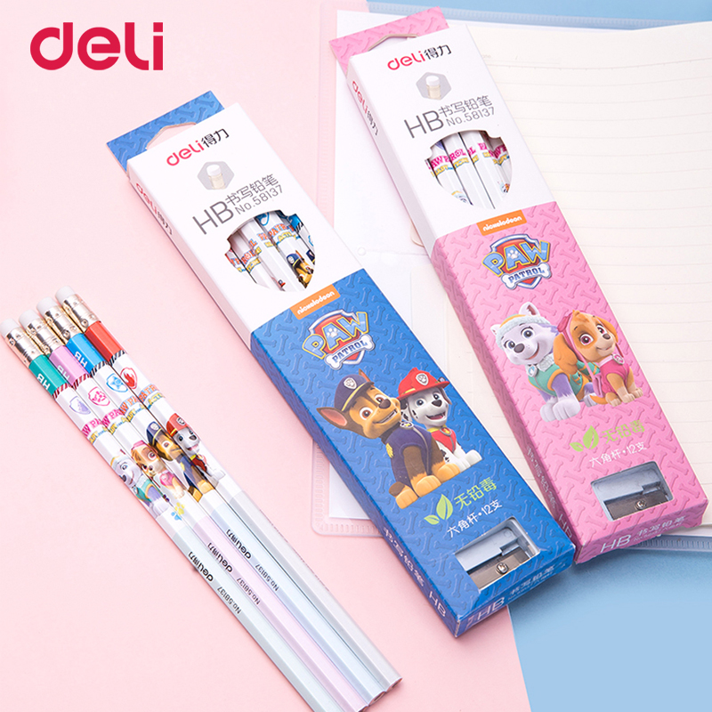 Deli paw patrol cute 12 pcs HB wood pencil set with sharpener for school kid write kawaii puppy office supply simple pencil gift deli 0620 manual pencil sharpener heavy duty quiet for office home and school school chancery stationery desk clamp included