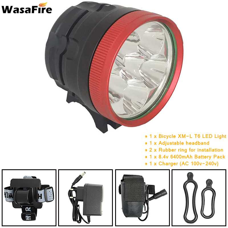 6000lm XM-L T6 LED Head Front Bicycle Bike Lamp Headlight Fishing Light 6400mAh