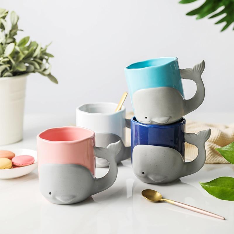 Creative whale cup ceramic Mugs tea coffee cup breakfast milk cup couple cups mugs little mermaid  pottery mugs cartoon ceramic cup