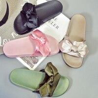 Luxury Brand Silk Bow Slides Women Summer Beach Shoes Woman No Fur Slippers Flat Heels Flip