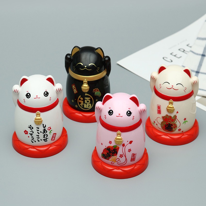 Lucky Cat Toothpick Box Cartoon Toothpick Container ABS Toothpick Storage Box Creative Cute Toothpick Holder for Household Table