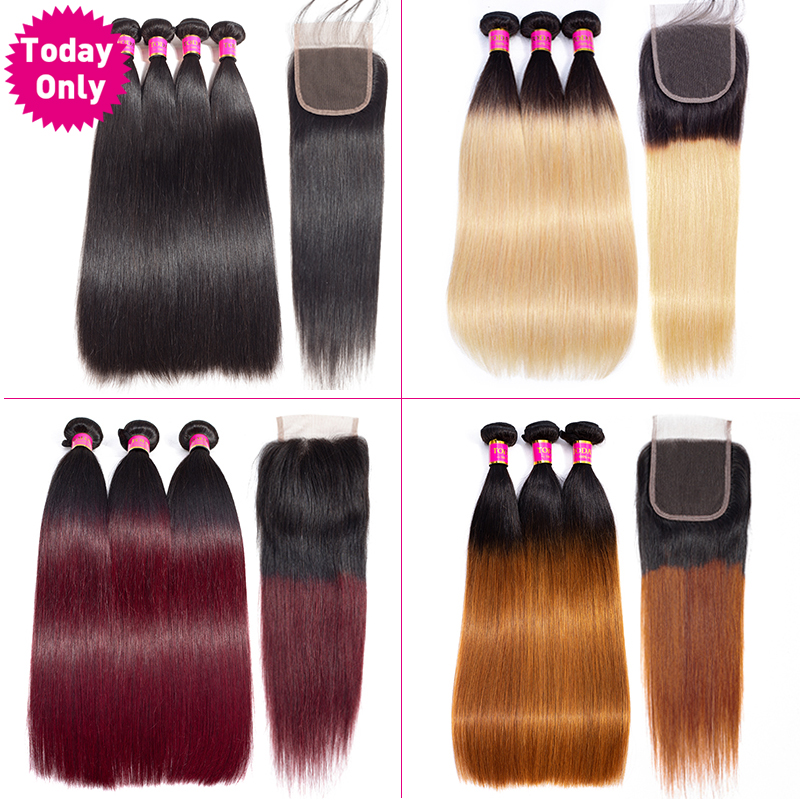 TODAYONLY Brazilian Straight Hair Bundles With Closure Burgundy Blonde Bundles With Closure Remy Human Hair Bundles