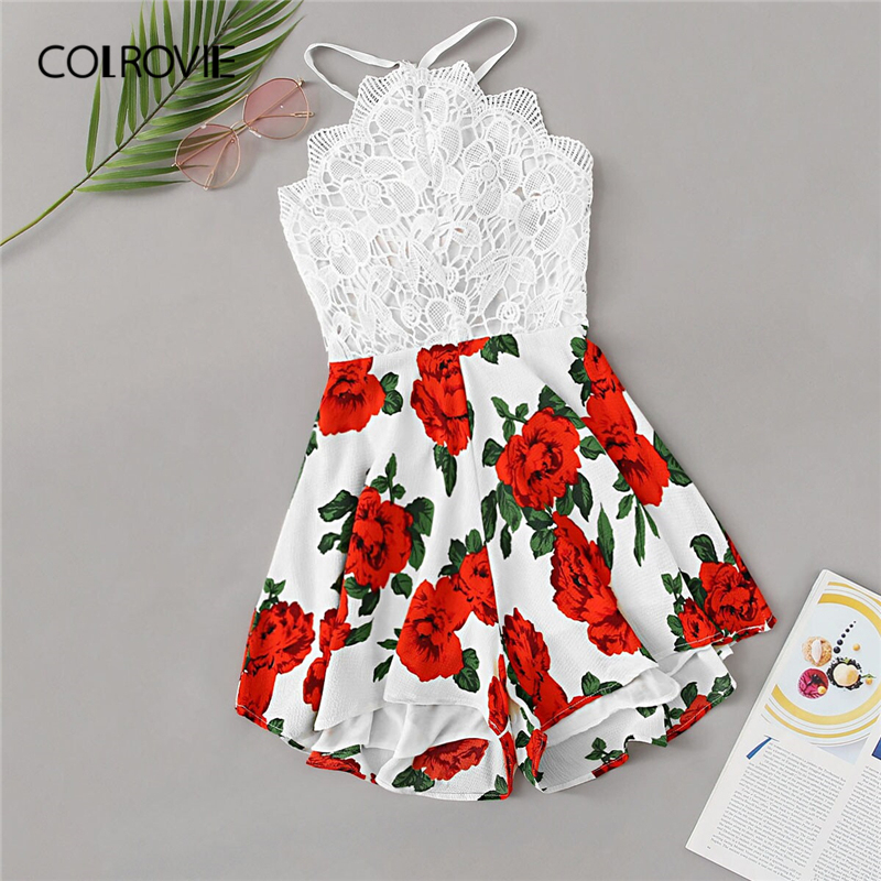 COLROVIE Lace Panel Floral Print Tie Backless Boho Romper Women Clothing 2019 Summer Holiday High Waist Girly Short   Jumpsuit