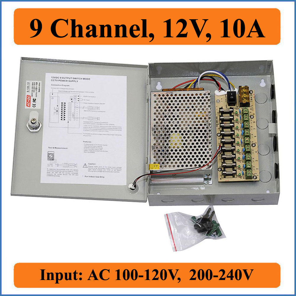 9 channels DC 12V 10A CCTV Camera Power Box Switching Power Suply BOX for CCTV Video Camera 9CH Port Inout AC 100-240V to DC 12V dc 12v 5a ac adapter cctv power supply adapter box 1 to 8 port for the cctv surveillance camera system abs plastic
