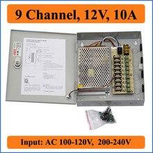 Fuente de alimentación de la cámara CCTV de 9 canales de CC, 12V, 10A, caja de fuente de alimentación conmutada para cámara de vídeo CCTV, 9CH puertos de entrada AC 100 240V a DC12V