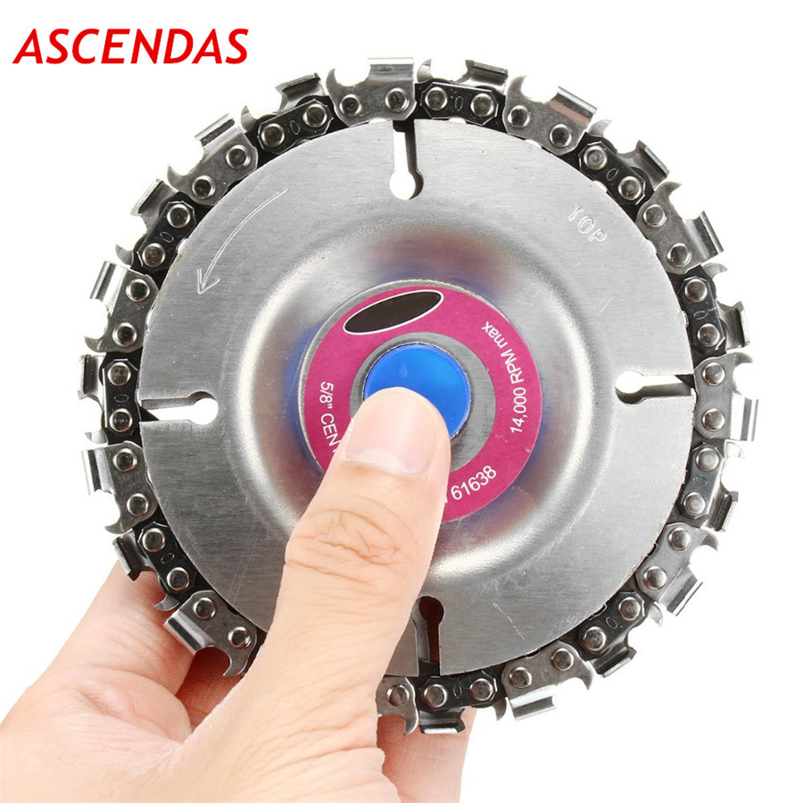 4 Inch Grinder Disc and Chain 22 Tooth Fine Cut Set For 100 115 Angle 5/8 Center Hole TP-0128