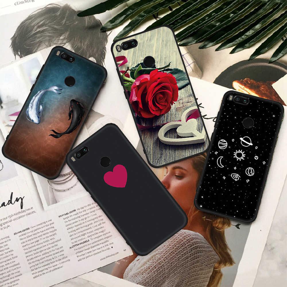 Hati Percetakan Bermotif Case untuk Xiao Mi Mi 8 Se A2 A1 Pocophone F1 Pocophone 5X Mi 6X TPU Rose ruang Pattern Back Cover Kasus