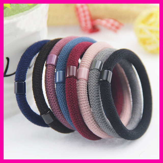 50PCS 6mm Mesh pattern Round Elastic Ponytail Holders rope with beads  connection 0c3a447219d