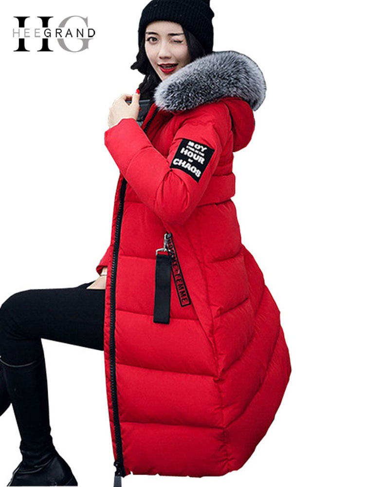 HEE GRAND Spring Autumn Women   Parka   Jacket Fur Collar Elegant Overcoat Long Snow Coats Warm Thick Feather Hooded   Parkas   WWY379