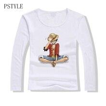 8ff4e67a54e1 One Piece T shirt Women Japanese Anime Clothing Luffy Women Long sleeves T- shirt Female