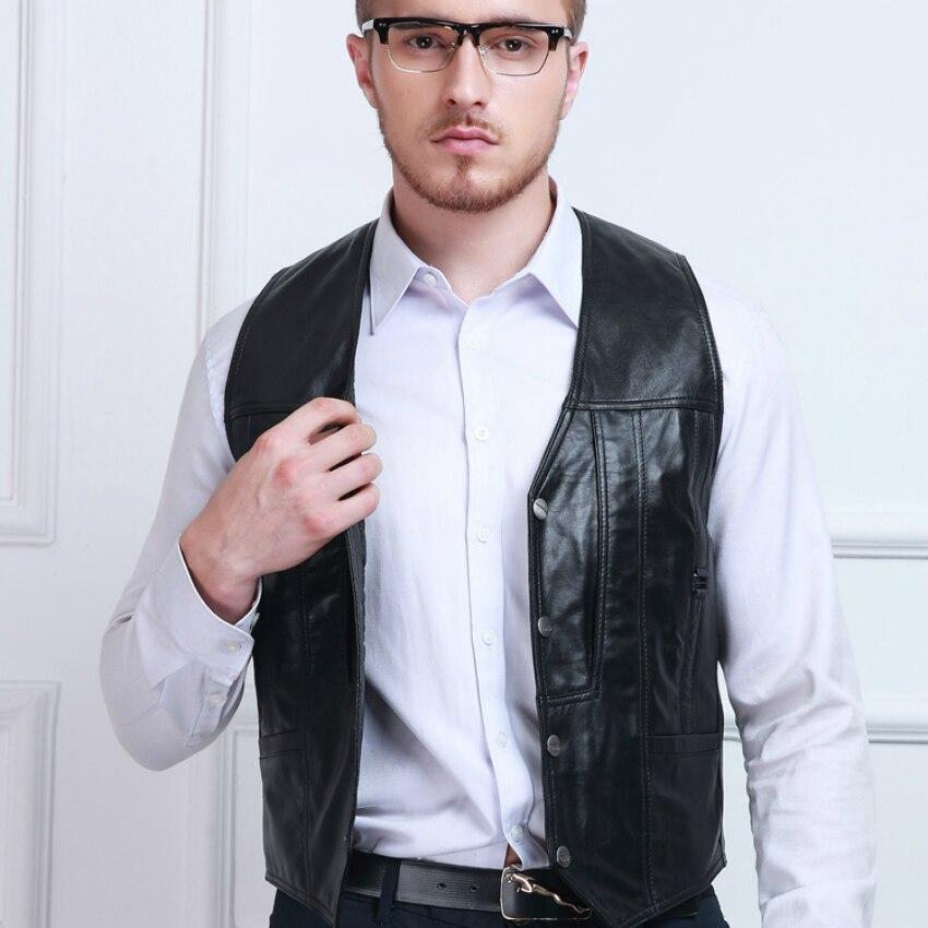 SHOWERSMILE Brand Black Genuine Leather Vest Mens Plus Size Clothing Sheepskin Waistcoat Photography Vests Motorcycle Jacket