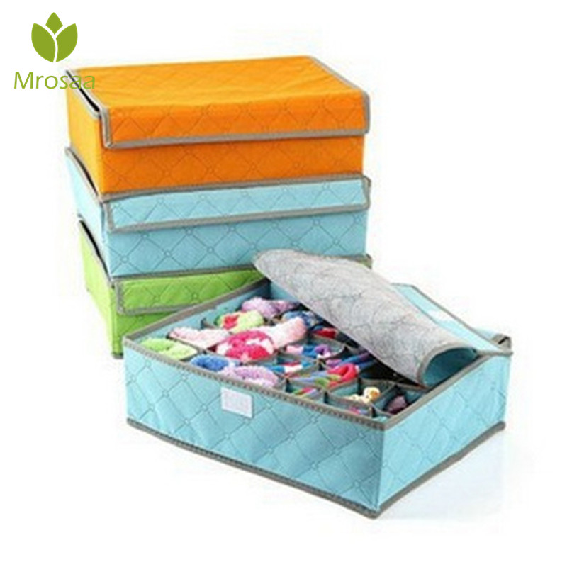 Color:  Mrosaa 24 Grid Fabric Solid Color Finishing Storage Home Underwear Storage Box Non-woven Storage Box - Martin's & Co