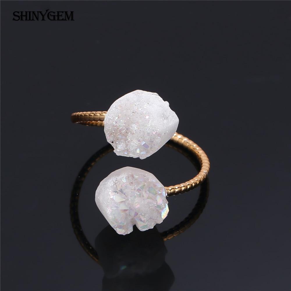 ShinyGem არარეგულარული Druzy Opal Rings - მოდის სამკაულები - ფოტო 5