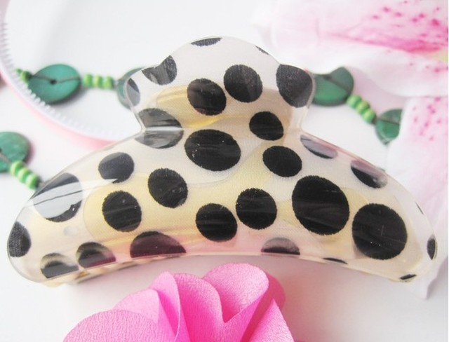 Free Shipping 6pcs/lot  9cm Dot Printing Lady's Hairclip Fashion Hair Claw Clip