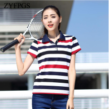 ZYFPGS 2019 Summer Casual Women Polos Shirts Striped Slim Short Sleeve Mujer Shirt Cotton Female Plus Size 5XL 6XL  L0521