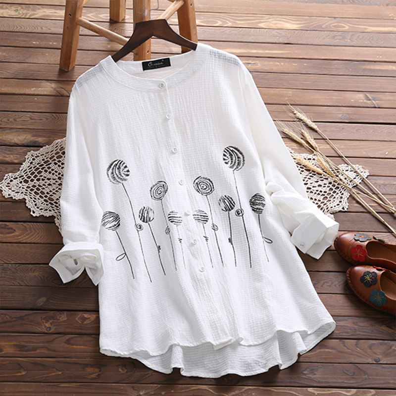 2018 Autumn Fashion Women Casual O Neck Long Sleeve Blouse Vintage Buttons Floral Printed Cotton Linen Work Office Shirt